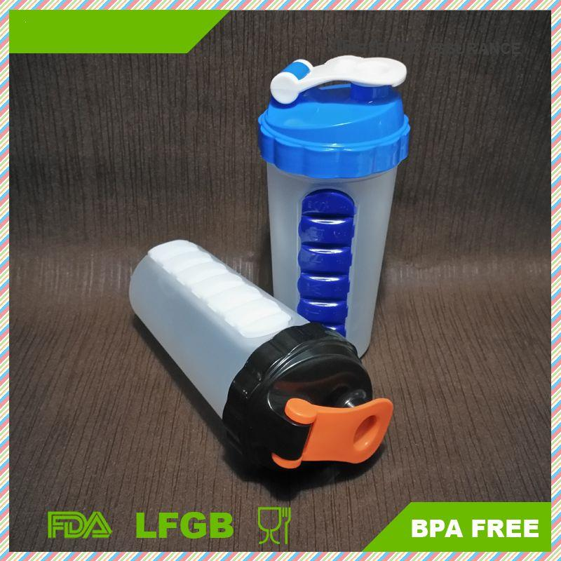 protein bottles with pill box