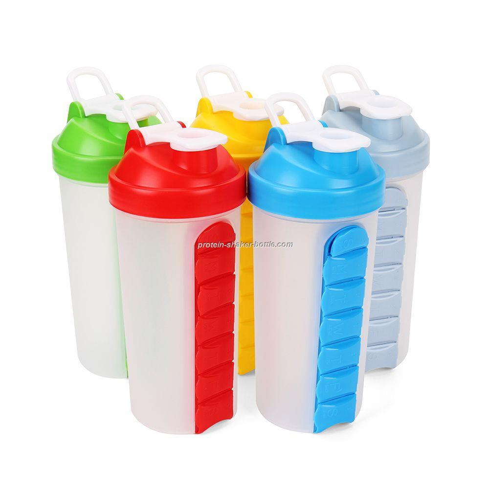 sports water bottle built-in 7 days plastic pill box