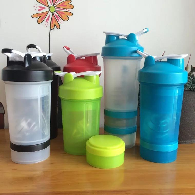protein shaker bottle sport plastic water bottle with storage compartment