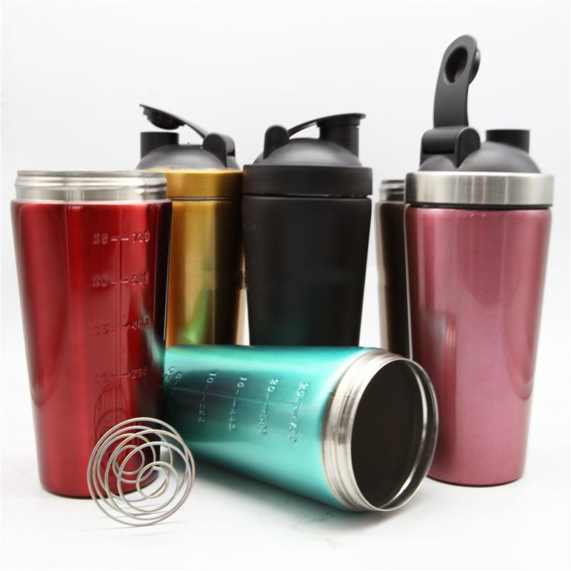 750ml single wall stainless steel logo customized shake bottle