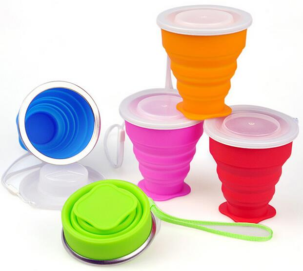 New style Easy taking drinking silicone foldable cup with cover