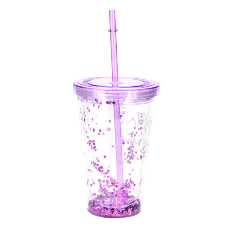16oz Double wall insert glitter plastic tumbler cup with straw