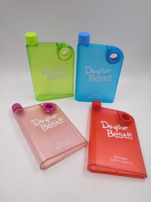 Plastic Notebook Flat Portable Drink Slim Water Bottle