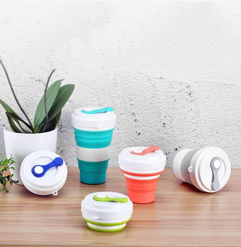 Traveling collapsible cups customize silicone coffee cups with lids