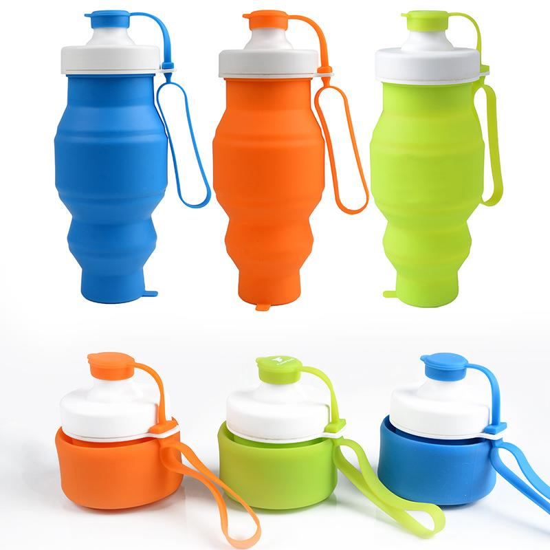 Good quality outdoor sports resistant folding silicone water bottle for wholesaleGood quality outdoor sports resistant folding silicone water bottle for wholesale
