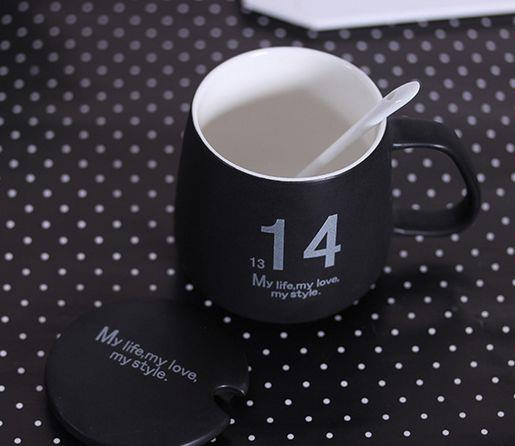 customize 12 Ounce creative printed ceramic cup with Spoon and Lid / coffee mug / Ceramic cup