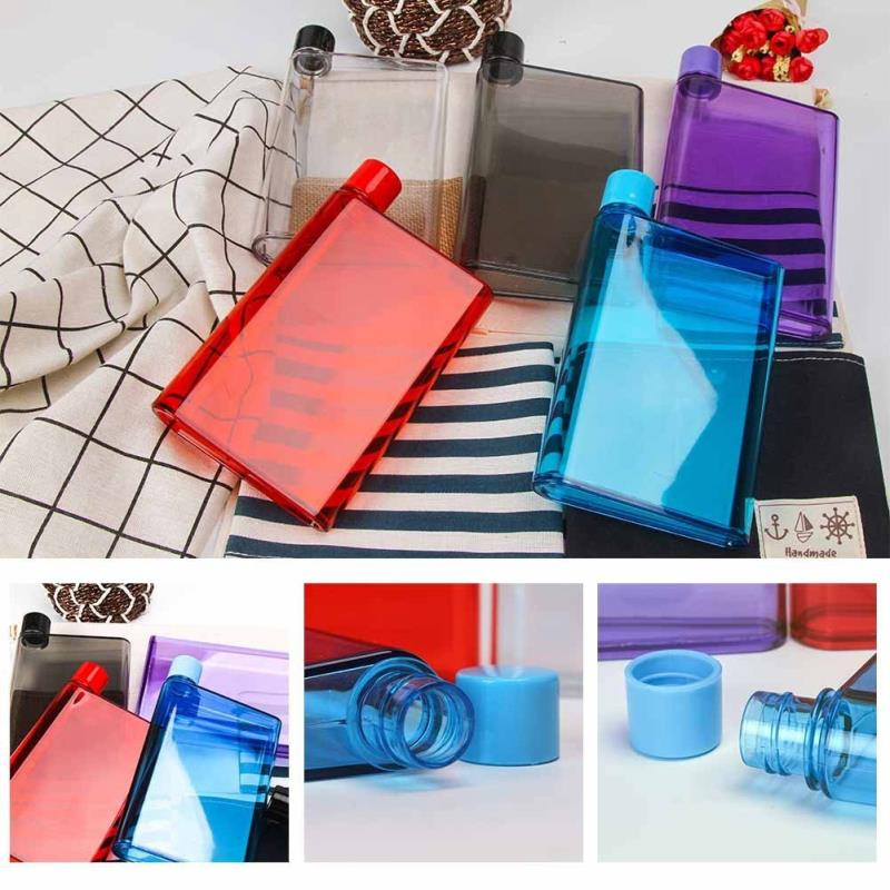 BPA Free Plastic Notebook Flat Portable Drink Slim A6 Water Bottle