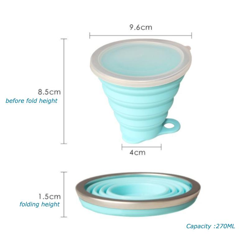 2018 Top selling promotion gift collapsible travel cups silicone folding drinking cups