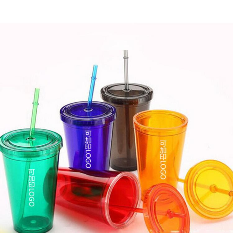 Wholesale sippy cups 16oz BPA free double wall tumbler With Straw