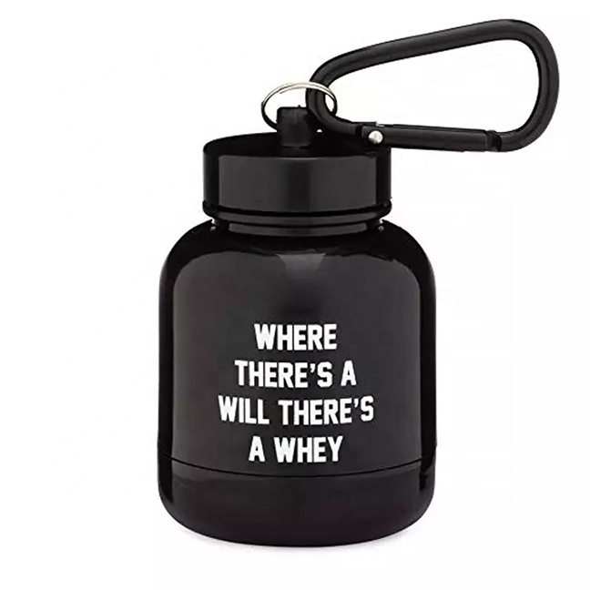 2019 New Design BPA Free Customized Shaker Bottle PP Protein Powder Funnel With Climbing Carabiner
