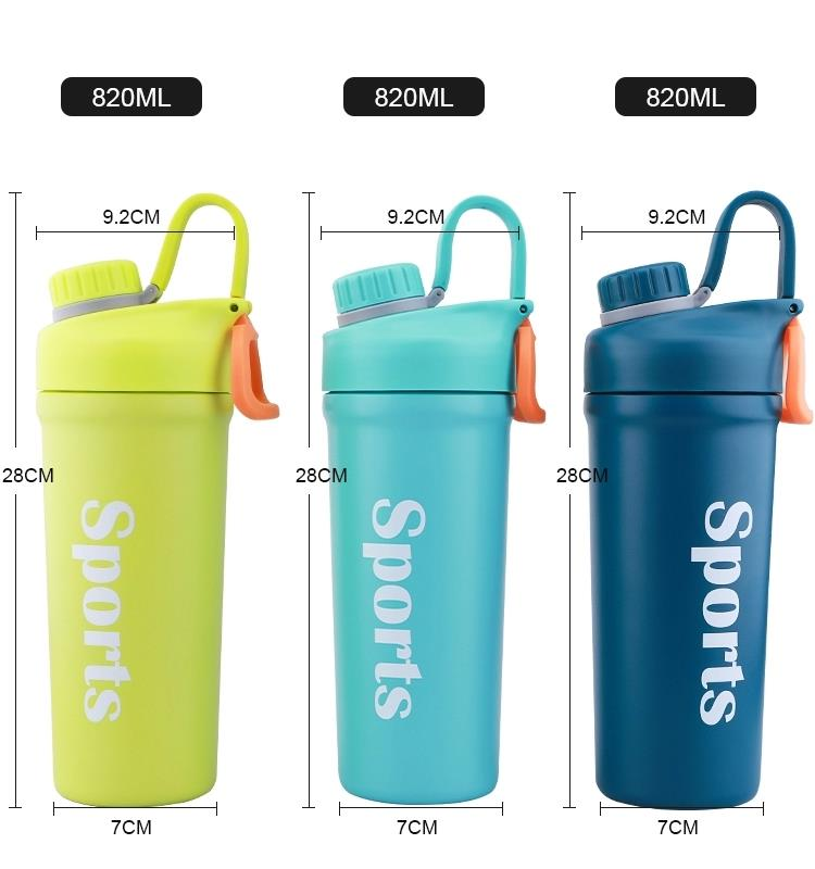 Custom Black Bpa Free Logo Metal Double Walled Insulated Vacuum Stainless Steel Shaker Bottle Gym With Ball