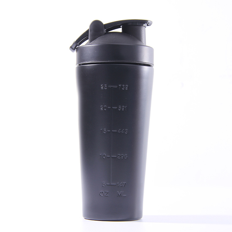 Wholesale 25oz stainless steel sports bottles protein powder shaking metal shaker bottle