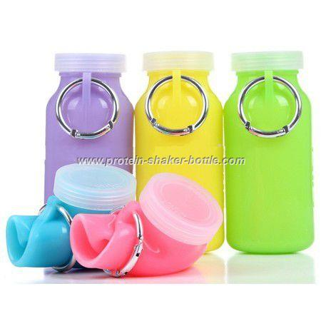 Flexible collapsible Silicon Bottle,foldable shaker bottles