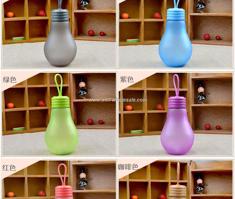 16oz Casual Water Bottle Portable Bulb Frosted Plastic Mug