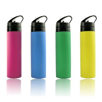 silicone squeeze sport bottle collapsible water bottle carry bag