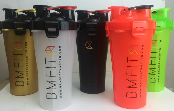 custom logo dual mouth protein shaker