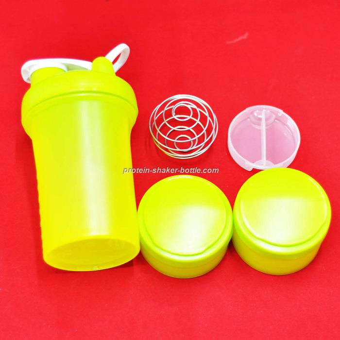 3 compartments/containers protein shaker bottle
