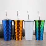Custom Stainless Steel Straw Cup Coffee Cup With Cover