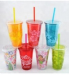 reusable PS plastic up 450ml 650ml customized color changing logo magic plastic cup with lid and straw