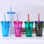 24oz / 700ml custom desgin pvc insert double wall thermal plastic cup with straw