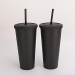 BPA free FDA pass double wall plastic straw cups 12oz 16oz 24oz 32oz