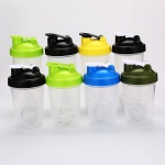 Custom Logo BPA Free 14Oz Plastic Protein Shaker Bottle with stainless steel ball and Colorful Lid