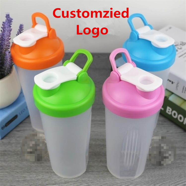 customized logo 600ml plastic sports protein shake water bottle with 304 Stainless Steel Ball