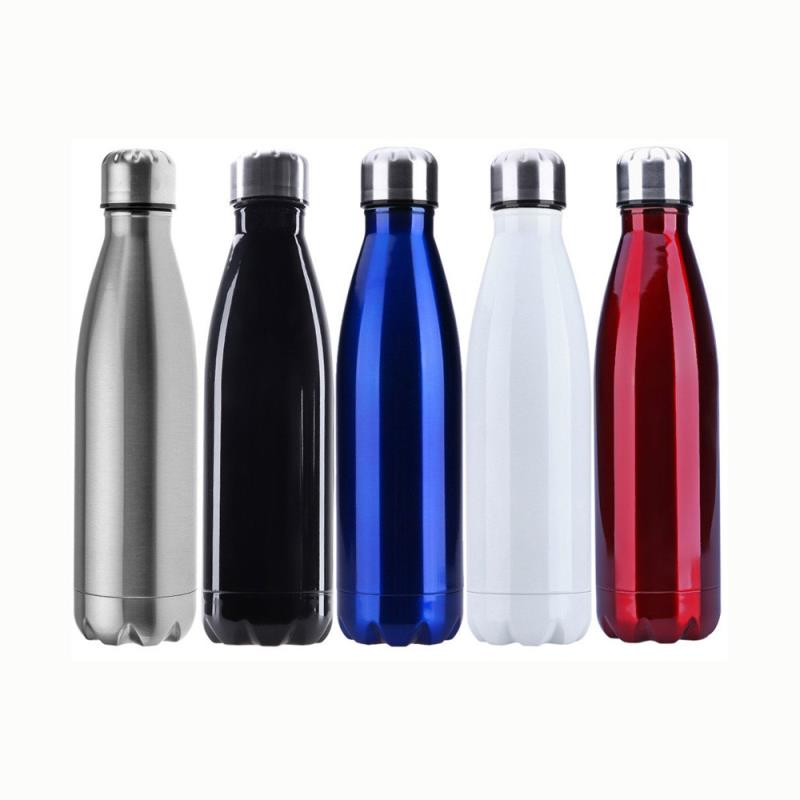 Custom brushed 500ml stainless steel flask vacuum cup soda cola shape sports bottle