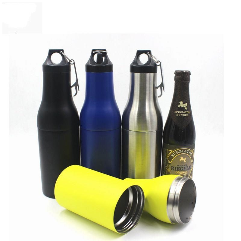 Stainless Steel Double Wall Vacuum Beer Bottle Cooler Bottle Holder with Carabiner and Opener