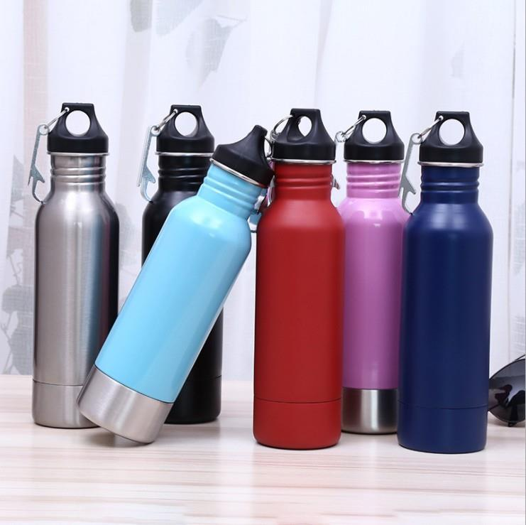 12oz Stainless Steel Double Wall Vacuum Beer Bottle Cooler Bottle Holder with Carabiner and Opener