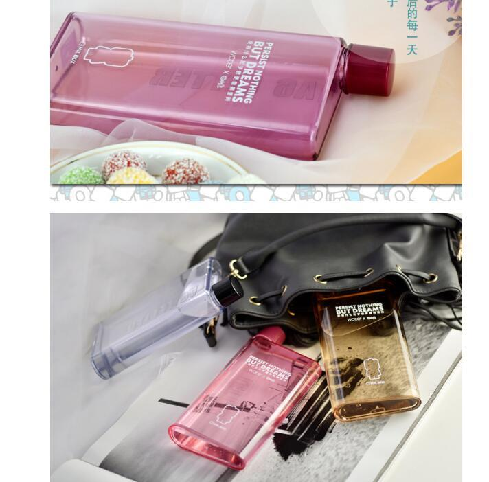 Plastic Notebook Flat Portable Drink Slim A6 Water Bottle
