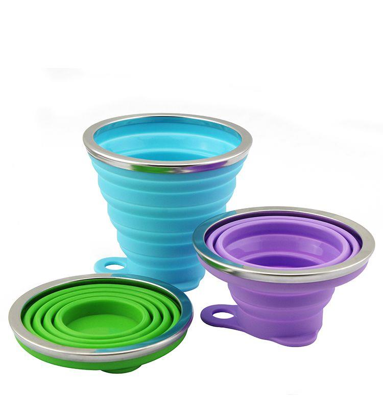 wholesale silicone foldable travel drinking cup collapsible water drinking cup with handle