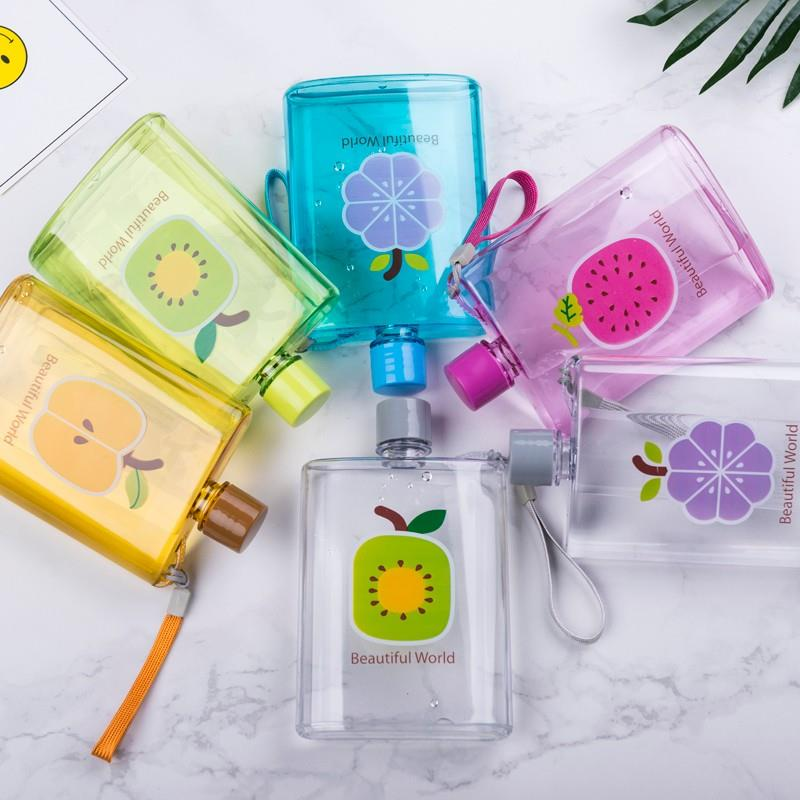 350ML Flat Water Bottle Plastic, Notebook Flat Water Bottle For Kids