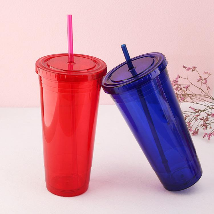 24oz Plastic Double wall insert paper tumbler with lid and Straw