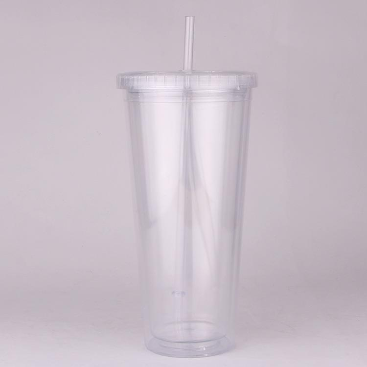 24oz Plastic double wall straw cup
