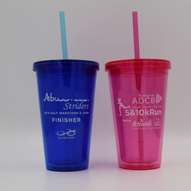 Manufacturer wholesale plastic double layer creative juices cup coffee cup with straw