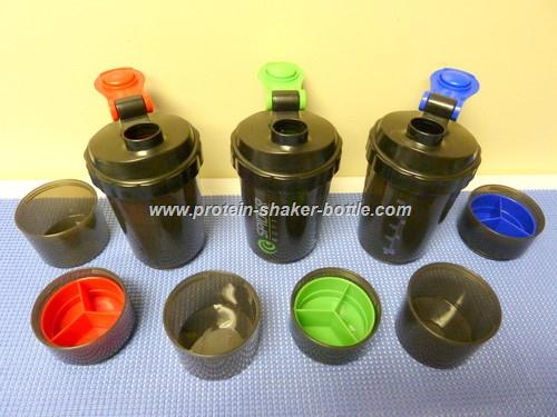 500ml BPA Free Plastic Protein Shaker Bottle with Pill Box