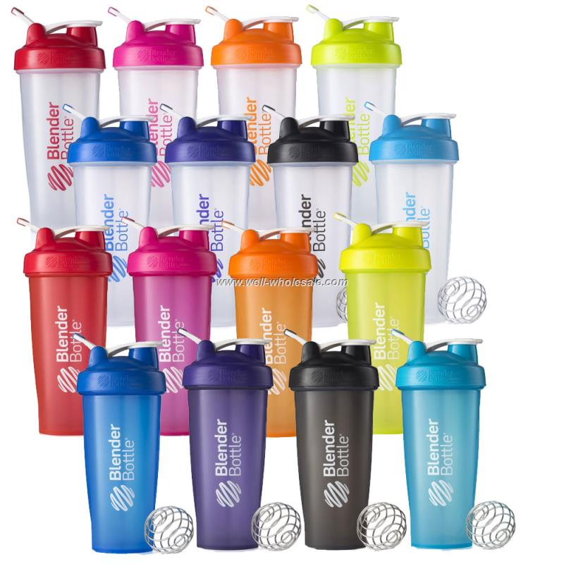 Wholesale 16oz/400ml plastic protein shaker bottle with blender ball and handle ODM