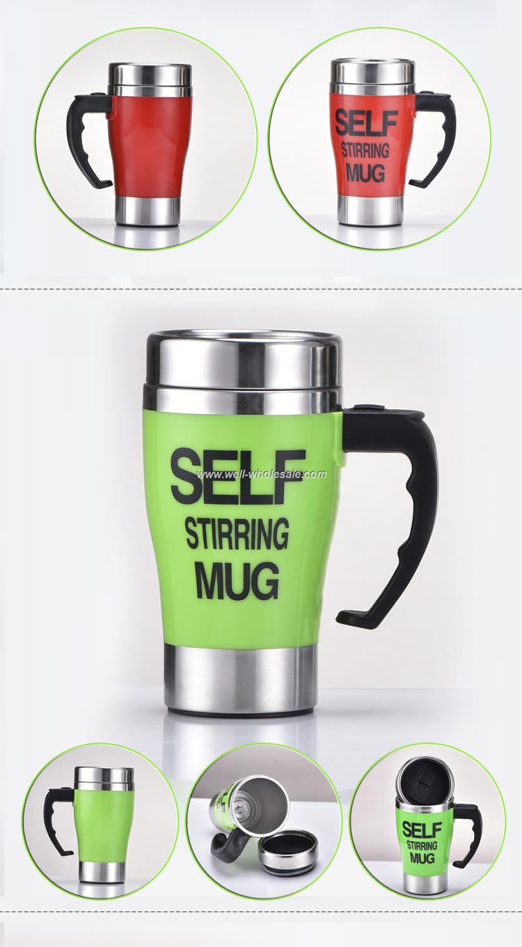 Automatic Electric Stainless Steel Travel Coffee Mug Self Stirring Cup