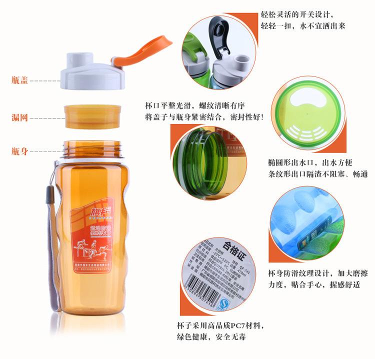 BPA FREE tritan water bottle plastic with custom logo, plastic water bottle