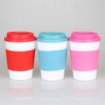 340ml new colorful pp plastic cup with silicon sleeve coffee mug