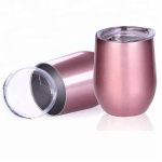 12oz Rose Gold Double Wall 304 8/18 Stainless Steel Reusable Coffee Cup Mug Tumbler With Lid