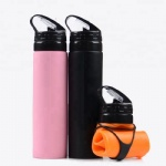FDA 550ML Collapsible Silicone Sports Water Bottles Squeeze Water Drinking Bottle for Running