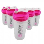 spider protein shaker cup Sports water bottle with inserted spring PINK Color 700ml
